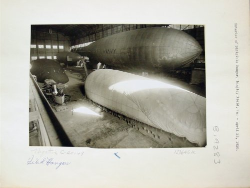 A C-class Navy airship, upper right, can be seen inside a giant Langley Field hangar on April 23, 1920, just 7 weeks before the June 11 aerial display marking the dedication of Langley Memorial Aeronautical Laboratory in Hampton. Credit: Courtesy of the Air Combat Command History Office and the National Archives