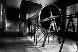 This view of the propeller that pulled air through Wind Tunnel No. 1 was taken before the lab was dedicated on June 11, 1920.. The 200-horsepower electric motor could produce wind speeds of 89 mph. Credit: Courtesy of NASA Langley Research Center