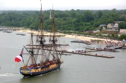 The French Tall Ship Hermione, a replica of the 1790 ship that once brought Gen. Marquis de Lafayette to America arrives in Yorktown, Va. Friday, April 5, 2015. (Joe Fudge)