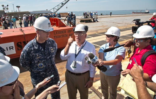 Newport News Shipbuilding demonstration of the EMALS system aboard the aircraft carrier Gerald R. Ford failed during a media event to feature the system on Tuesday, June 16, 2015. Here, Gerald R. Ford Capt. US Navy Capt. John F. Meier, and Shipyard President Matt Mulheron discuss the setback with the media after the failed demonstration Tuesday. Repairs will be needed before they can launch weighted sleds from the carrier deck into the James River. The sled are used to test the system.