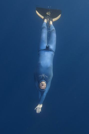 French free diver Guillaume Nery practices apnea during a training session in the Mediterranean sea near Nice on July 18, 2015, ahead of the 2015 AIDA (Association for Development of Apnea) Individual Depth World Championships. AFP PHOTO / BORIS HORVATBORIS HORVAT/AFP/Getty Images ORG XMIT: 6938