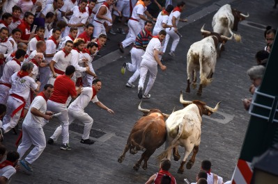 Runners on Santo Domingo way run beside Jandilla fighting bulls during the running of the bulls at the San Fermin Festival in Pamplona, Spain, Tuesday, July 7, 2015. (AP Photo/Alvaro Barrientos)