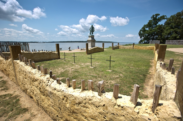 Jamestown archaeologists have identified four sets of human remains buried in the chancel of the historic settlement's first church, including Jamestown's first Anglican minister and Capt. Gabriel Archer. The cross's mark where the four sets of human where found inside the 1608 church site inside the fort. (Joe Fudge)