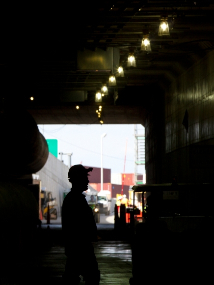 A man stands inside the first element of the new Midtown Tunnel on Tuesday in Portsmouth. Crews laid the eleventh and final element of the new tunnel on its Norfolk side on Tuesday morning. (Kaitlin McKeown)