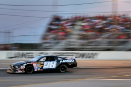 Landon Florian races to the finish in the Pro Six race during the Hampton Heat Saturday at Langley Speedway.