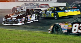 Cars attempt to dodge Tyler Ankrum, 58, as he spins out of control during Hampton Heat 200 Saturday at Langley Speedway.