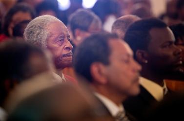 Tuskegee Airman Ezra M. Hill, Sr. of Hampton listens during a memorial service for fellow Tuskegee Airman William R. White on Thursday in Smithfield, Va. (Kaitlin McKeown)