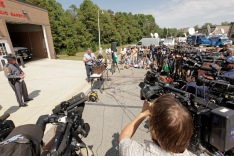 Franklin County, Virginia sheriff, Bill Overton speaks to the press on August 26, 2015 in Moneta, Virginia. Two employees of WDBJ TV were killed this morning during a live broadcast at Bridgewater Plaza on Smith Mountain Lake. The victims have been identified as reporter Alison Parker and camerman Adam Ward. Parker, 24 and Ward, 27, worked for WDBJ in Roanoke, Virginia. The suspect, Vester Lee Flanigan, also known as Bryce Williams, died of a self-inflicted gunshot wound. (Photo by Jay Paul/Getty Images)