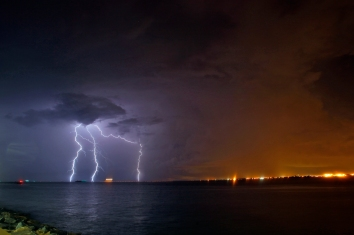 Lightning flashes near Fort Monroe as severe storms move through the area Thursday evening. (Jonathon Gruenke)