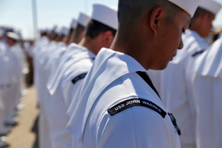 Sailors stand during the commissioning of the submarine USS John Warner at Naval Station Norfolk Saturday morning August 1, 2015.