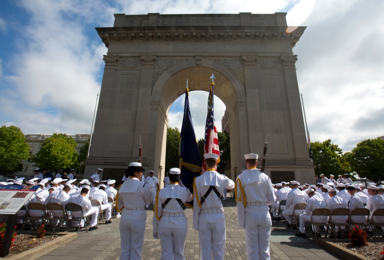 A USS Abraham Lincoln Honor Guard prepares to enter ceremonies commemorating 911 Friday, September 11, 2015 at the Victory Arch in Newport News. (Adrin Snider)