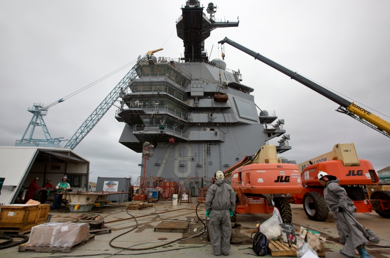 Work continues around the island of the aircraft carrier Gerald R. Ford on Tuesday, Sept. 22, 2015 at Newport News Shipbuilding. (Kaitlin McKeown)