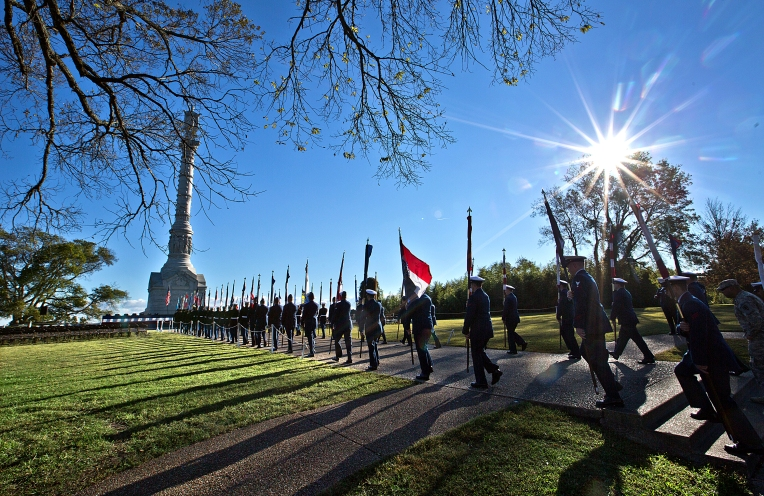 The 234th.Anniversary of the victory at Yorktown, Yorktown Day activities where held in the small town of Yorktown. The parade of state flags before the program started at the Victory Monument.