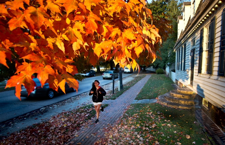 Colorful morning run along York Street next to the Robert Nicolson House in the restored area of Colonial Williamsburg to show that fall colors are here.