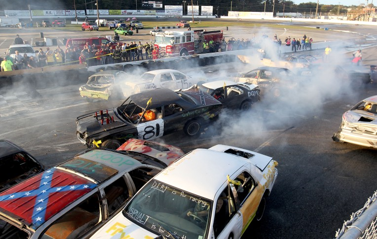 Cars battle it out during the demolition derby Saturday at Langley Speedway's Day of Destruction.