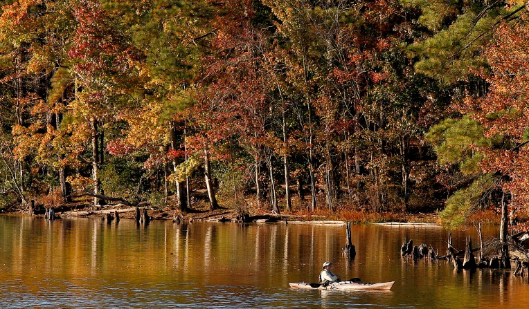 A fisherman takes to the water at Newport News Park as the fall colors begin to take over the area Tuesday November 3, 2015. (Rob Ostermaier)