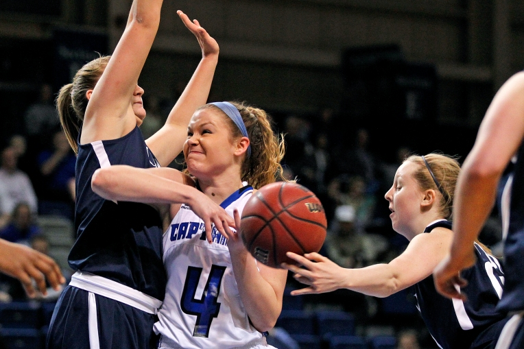 Christopher Newport University's Bailey Dufrene, center, loses control of the ball to Mary Washington's Jordan Pamlanye, left, and Elizabeth Dofflemyer during Wednesday's game at the Freeman Center February 10, 2016.