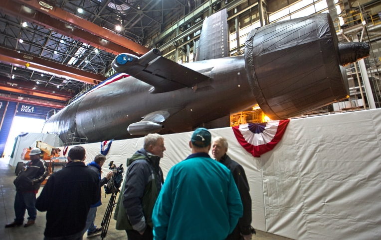 Media viewing of christening for submarine Washington