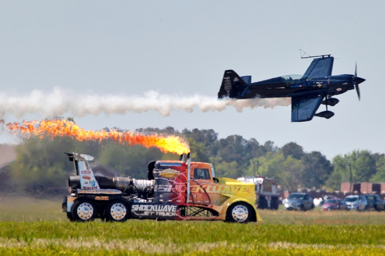 The Shockwave Jet Truck performs during Sunday's Langley Air Power over Hampton Roads air show at Langley Air Force Base April 24, 2016.