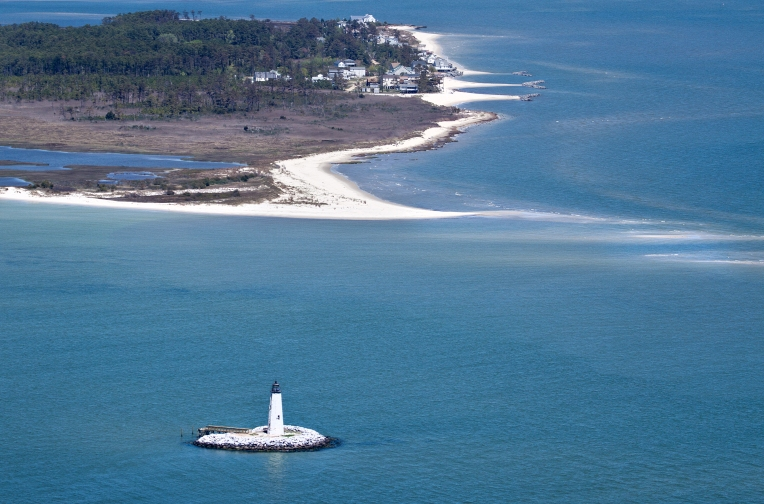 Aerials: New Point Comfort Lighthouse