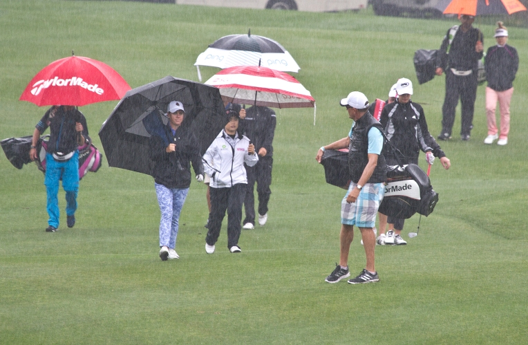 A steady rain greeted players braving to elements to practice on the River Course for the Kingsmill Championship Tuesday May 17, 2016.
