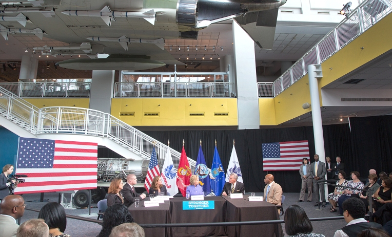 Hillary Clinton at the Air and Space Center in Hampton at her town hall meeting on Wednesday, June 15, 2016. L to R's Kathy Roth-Douquet, Robert Hamer,Dorothy McAuliffe, Hillary Clinton, Jamie Barnett and Terron Sims II.