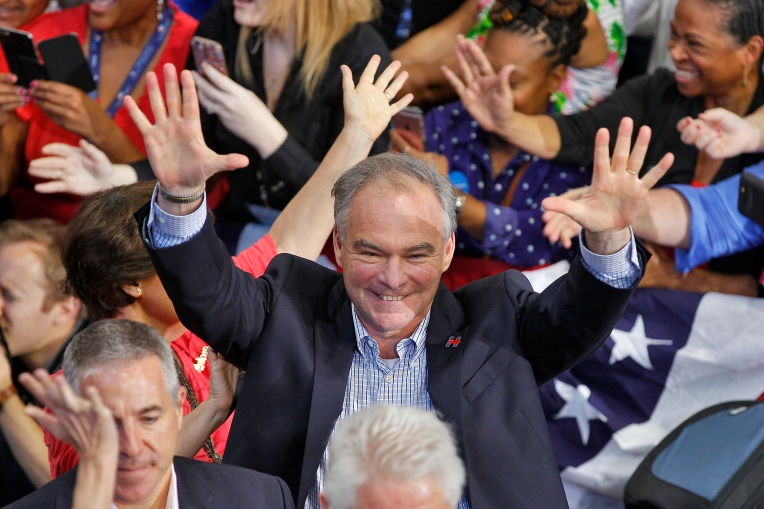 Senator Tim Kaine  greets people in the crowd at Temple University in Philadelphia Friday afternoon July 29, 2016.