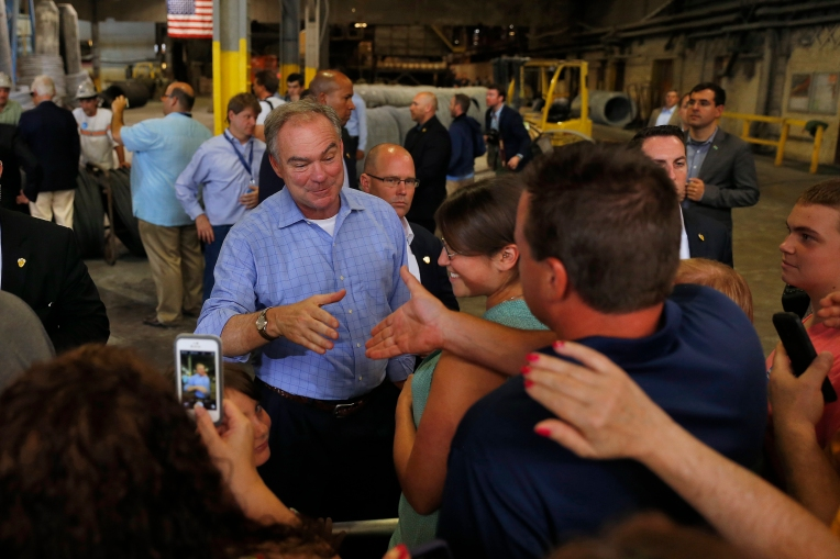 Senator Tim Kaine shakes the hands of supporters after speaking at a Johnstown Wire Technologies factory Saturday afternoon July 30, 2016.
