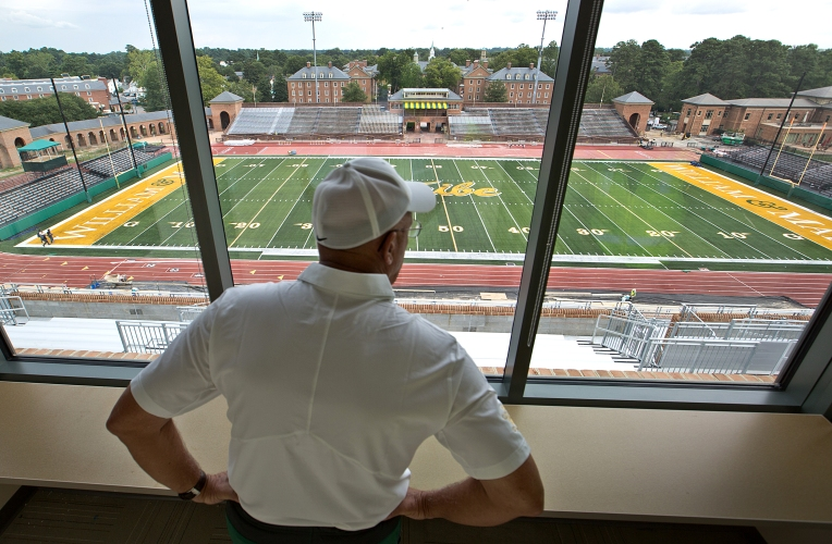 William and Mary football media day at W&M's Zable Stadium in Williamsburg. The 27 million dollars  improvements to the stands and new Pressbox will be ready for their first game on Sept.17th.with Norfolk State. W&M head coach Jimmye Laycock inside their new coaches box in the press box.