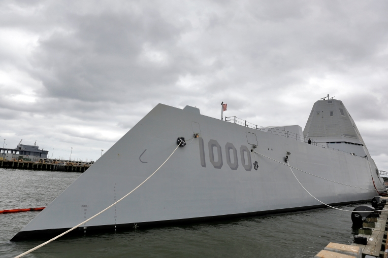 The guided-missile destroyer Pre-Commissioning Unit (PCU) Zumwalt (DDG 1000) sits at Pier 9 at Naval Station Norfolk Friday afternoon September 16, 2016.
