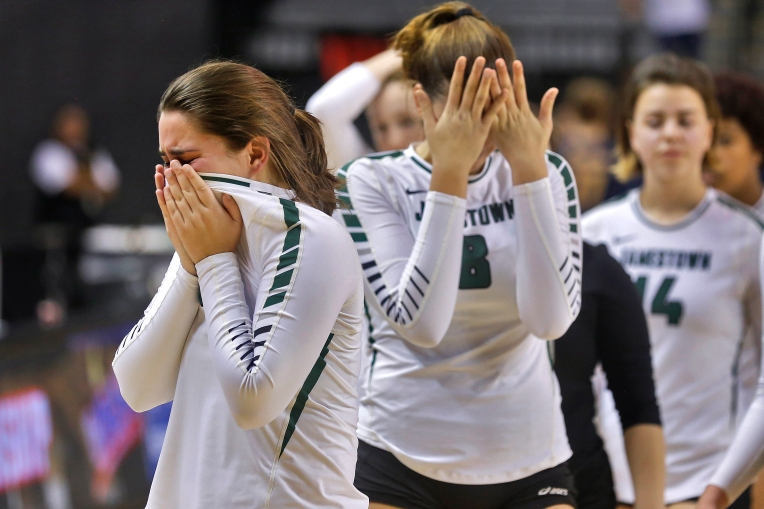 Jamestown's Maggie Viniard, left, and Ellie Popelka react after losing to Loudoun County during Saturday's 4A state championship at Virginia Commonwealth University's Siegel Center November 19, 2016.