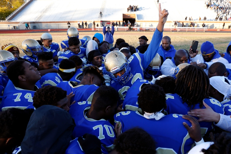 Phoebus players celebrate after defeating Lakeland 21-0 during Saturday's Group 3A state quarterfinal game at Darling Stadium November 26, 2016.