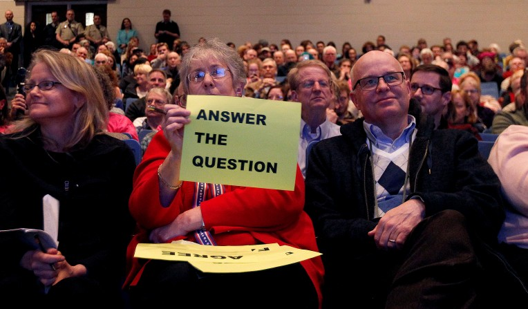 Pamela Pouchot lets Congressman Scott Taylor know how she feels about his answer during a town hall style meeting at York High Tuesday February 21, 2017. Rep. Taylor took questions from a crowd packed into the auditorium.